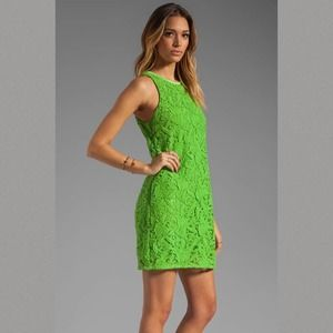JUICY COUTURE Guipuere Shift Lace Dress Green 4